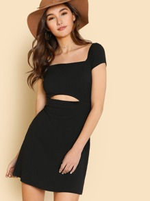 Cut Out Front Ribbed Dress ROMWE