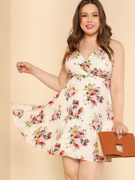06754e0445 Plus Flower Print Front Wrap Criss Cross Back Fit   Flare Dress IVORY