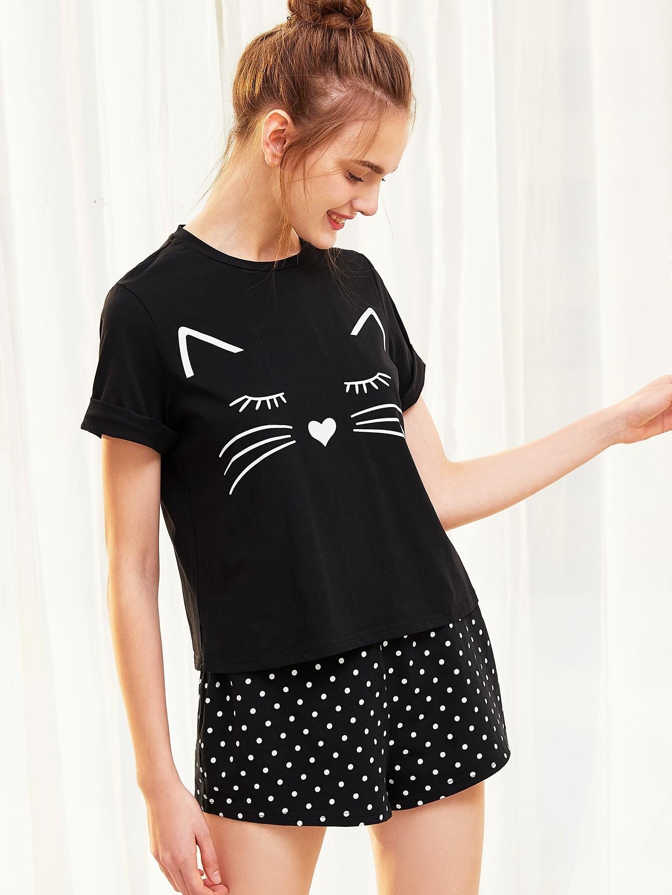 Cat Print Cuffed Top And Polka Dot Shorts Pajama Set high low top and frill hem shorts pajama set