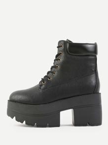 Chunky Platform Lug Sole Boots BLACK