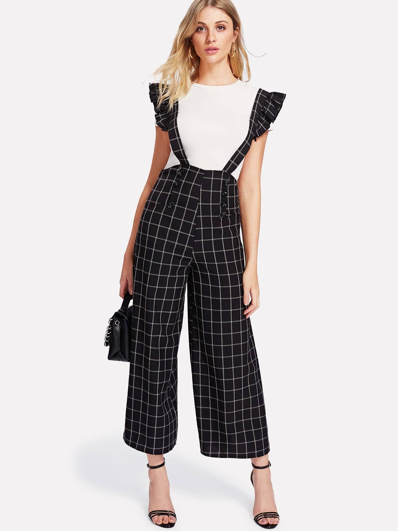 Double Breasted Palazzo Pants With Ruffle Strap buttoned wide waistband palazzo pants with strap