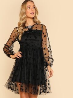 Bow Embellished Star Print Mesh Overlay Dress