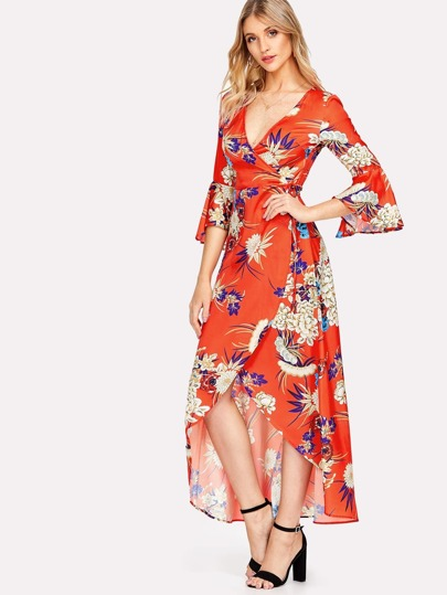 Flounce Sleeve Tied Waist Wrap Dress