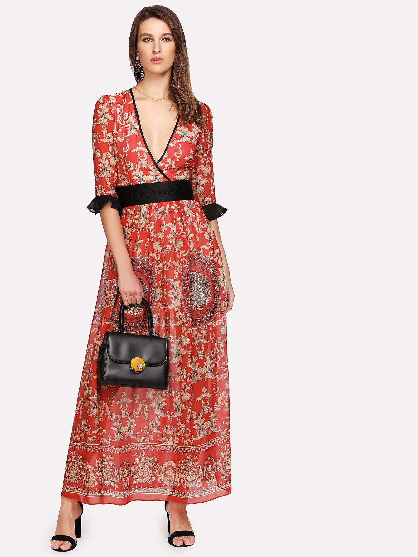 Contrast Flounce Sleeve Floral Surplice Wrap Dress mesh contrast flounce sleeve top