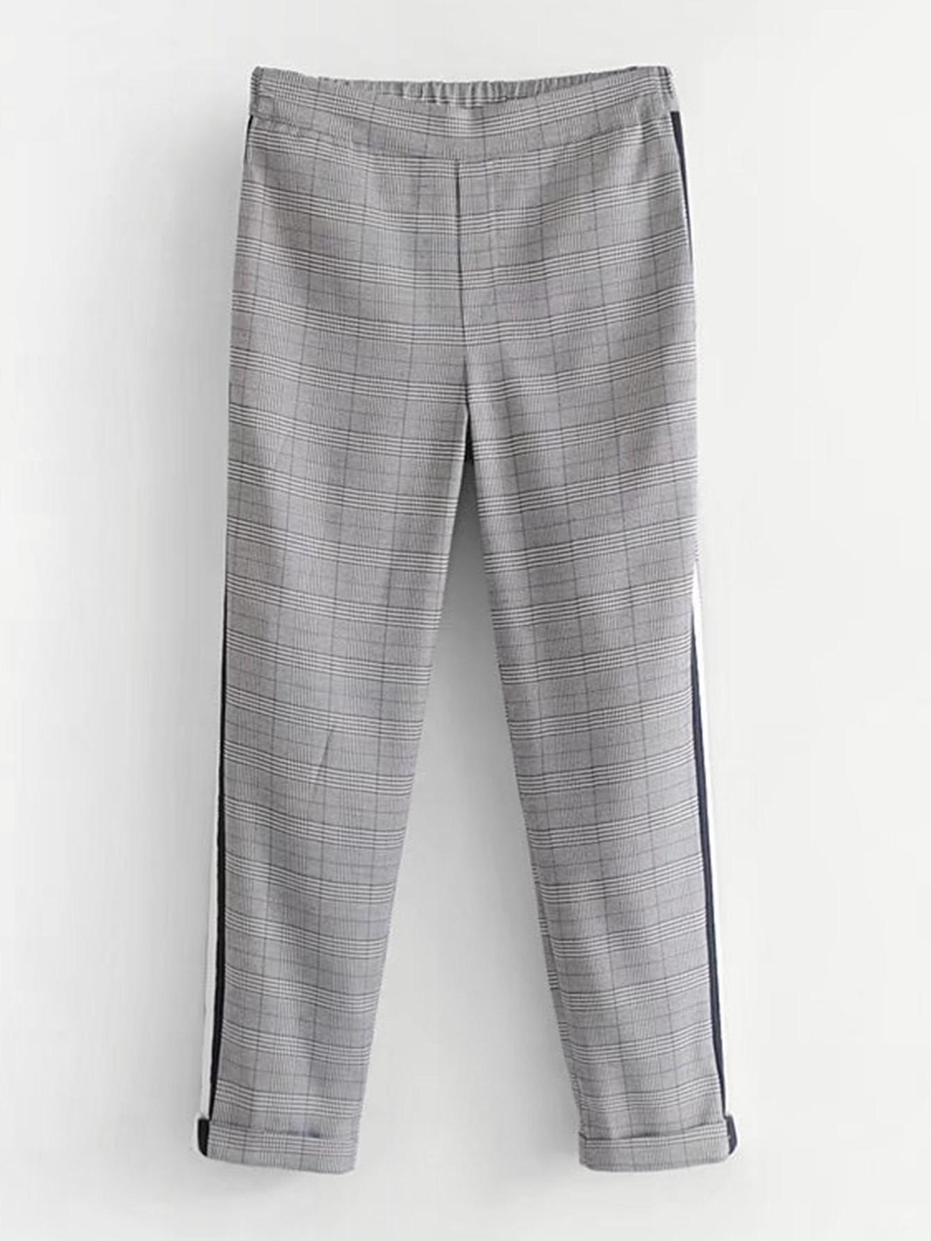 Striped Tape Glen Plaid Pants striped tape side cuffed pants
