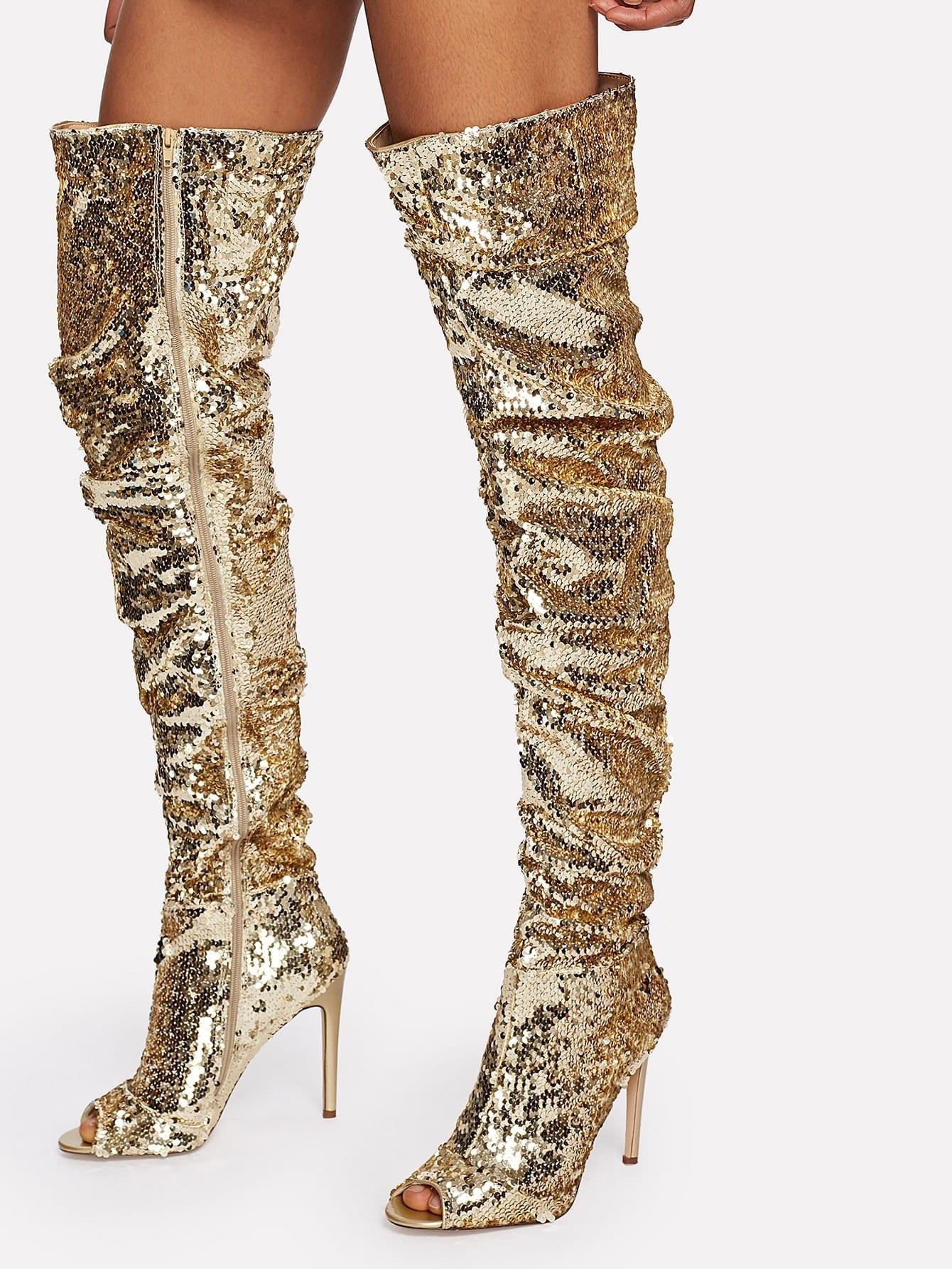 Sequin Overlay Block Heeled Thigh High Boots