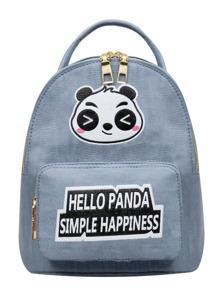 Slogan Detail Panda Print Backpack