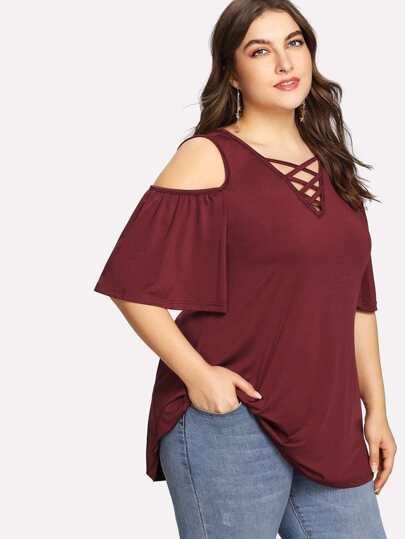 Criss Cross Front Open Shoulder Tshirt