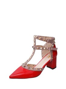 Studded Decor Pointed Toe Heels