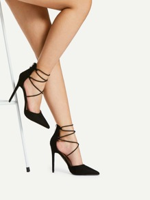 Zapatillas con tacón delgado con tiras cruzadas de punta
