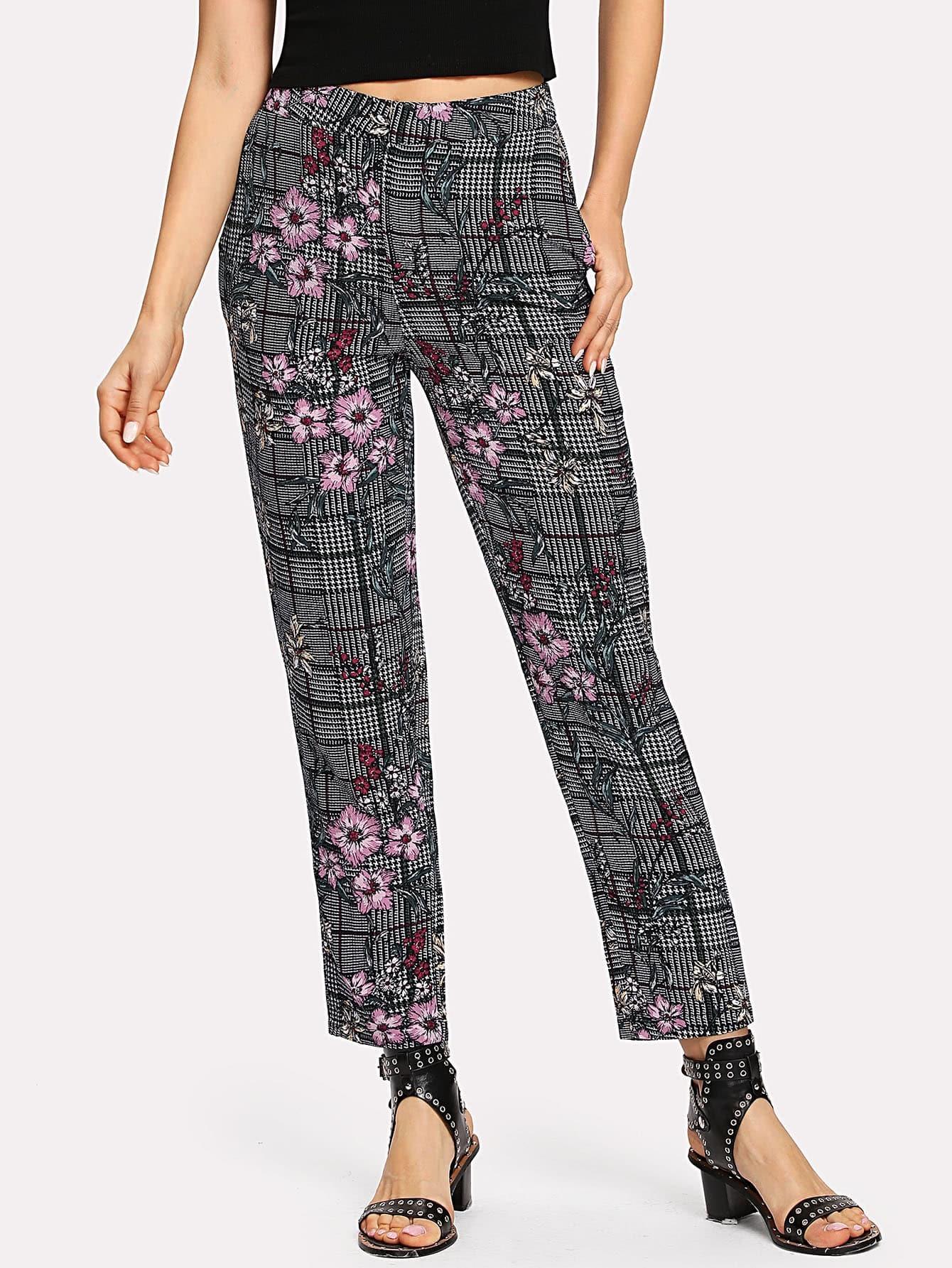 Купить Модные клетчатые брюки с цветочным принтом, Natalib, SheIn