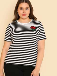 Rose Applique Striped Tee
