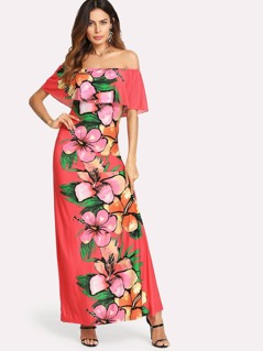 Floral Panel Ruffle Off Shoulder Dress