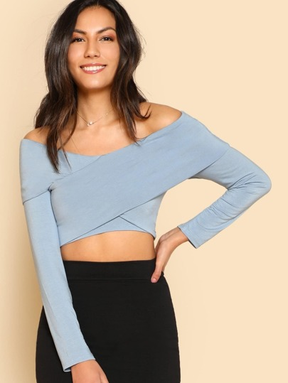 Off-Shoulder Overlap Crop Top DUSTY BLUE