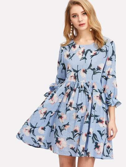 Ruffle Cuff Floral Smock Dress