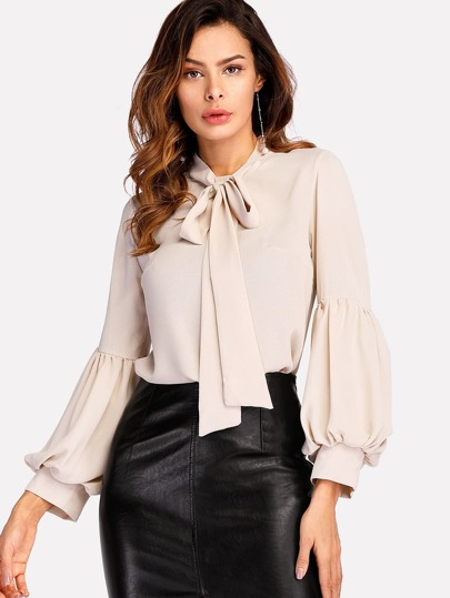 Tie Neck Balloon Sleeve Blouse