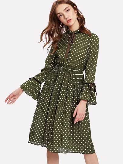 Tie Detail Flounce Sleeve Spot Dress