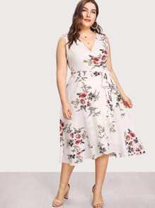 Flower Print Belted Wrap Dress