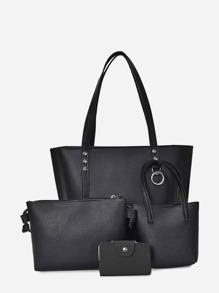 Faux Leather Combination Bag 4pcs
