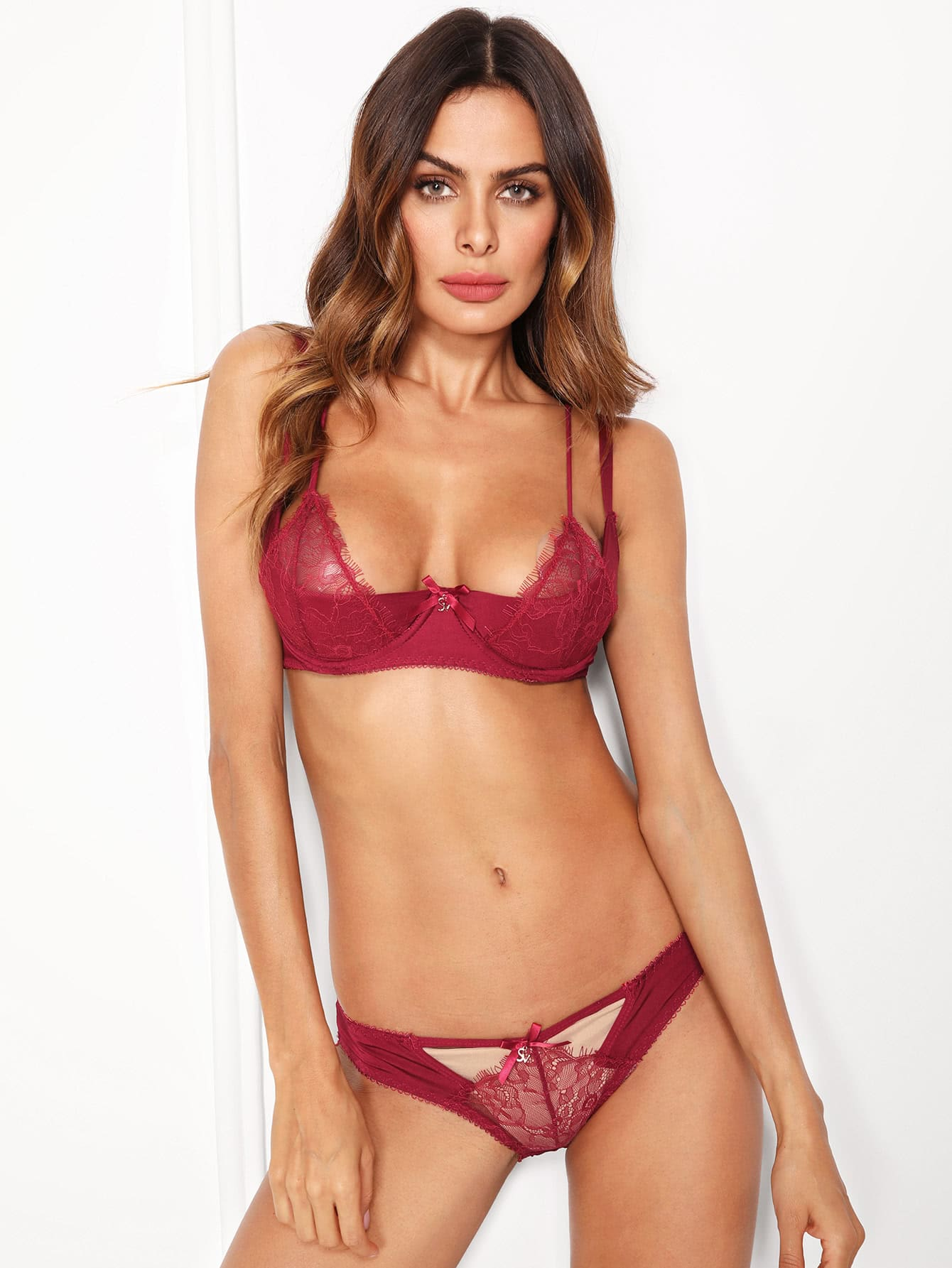 Bow Detail Lace Overlay Lingerie Set