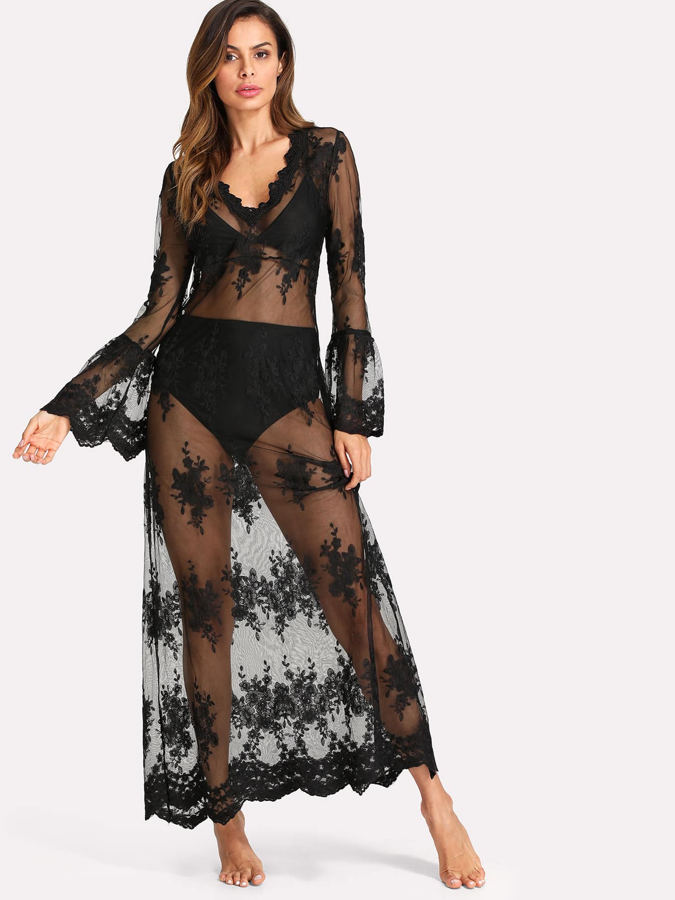 Flounce Sleeve Sheer Embroidered Mesh Dress flounce string bra with sheer briefs