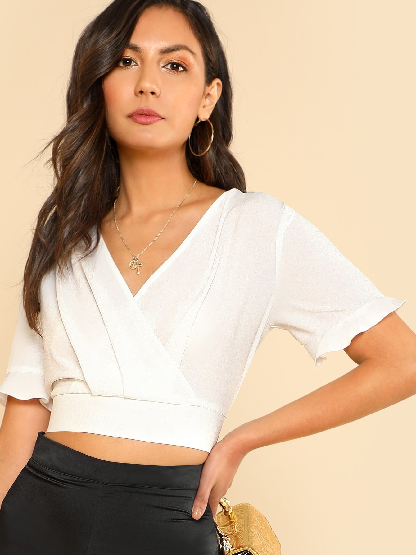 Ruffle Cuff Pleated Crop Wrap Top