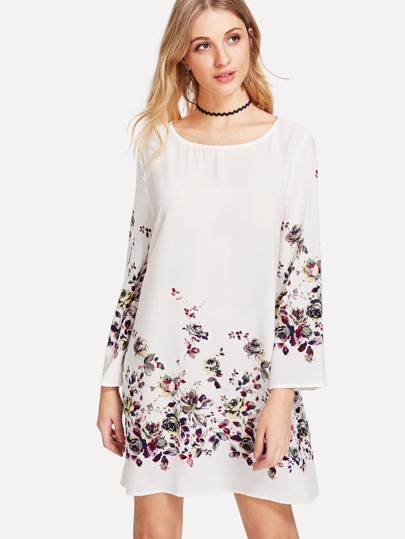 Flower Print Textured Dress