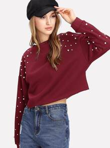 Pearl Embellished Drop Shoulder Crop Sweatshirt