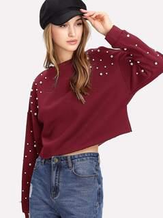 Pearl Embellished Drop Shoulder Crop Sweatshirt