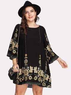 Plus Tribal Flower Print Tunic Dress