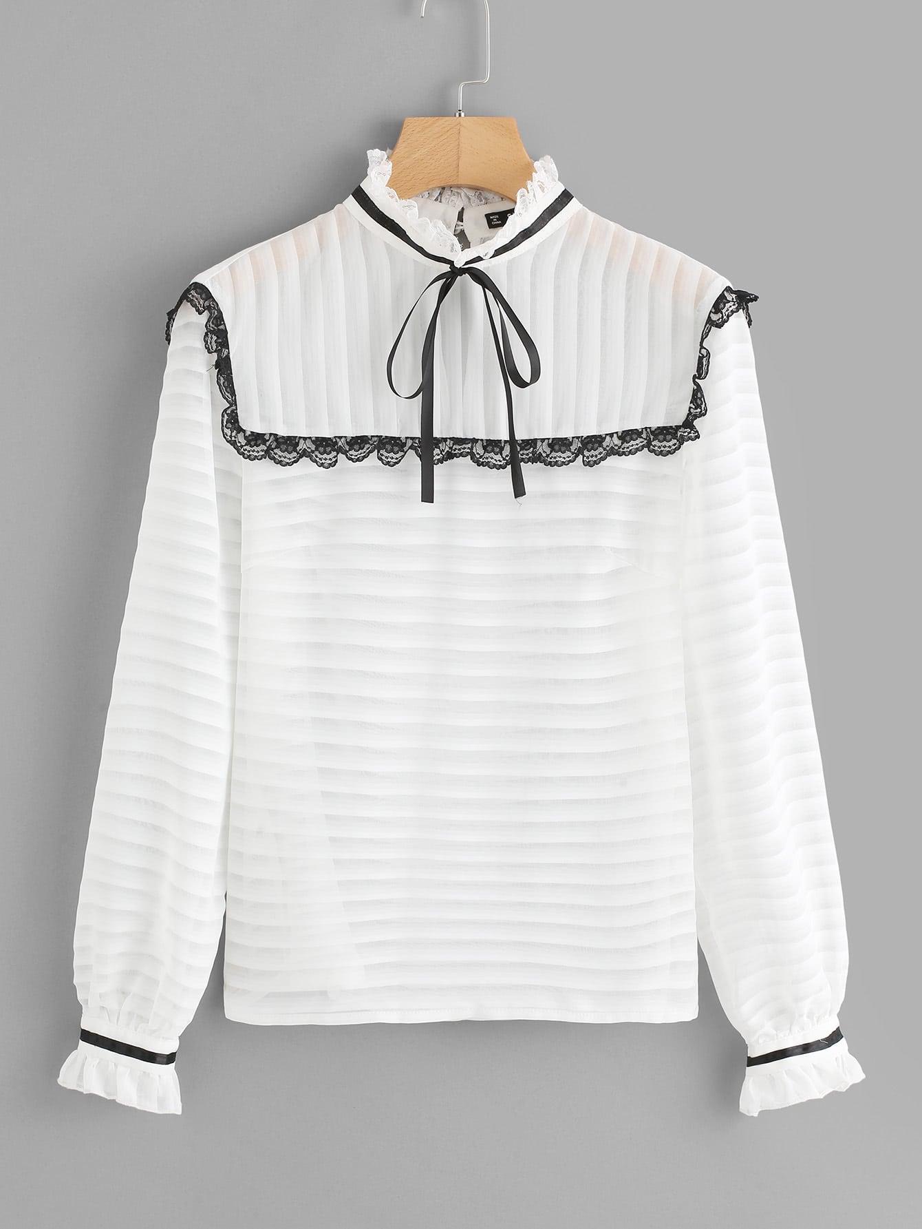 Tie Neck And Cuff Lace Trim Blouse v neck lace trim velvet blouse