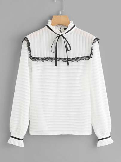 Tie Neck And Cuff Lace Trim Blouse