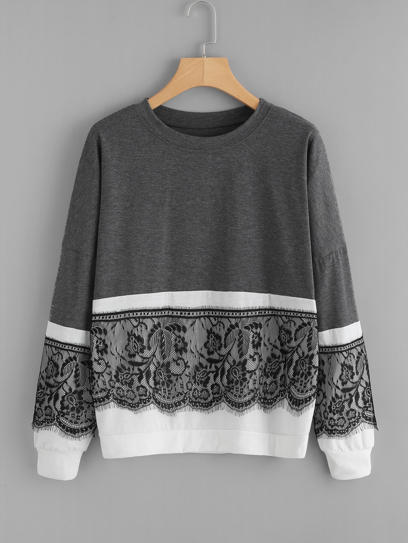Contrast Eyelash Lace Two Tone Pullover contrast embroidered two tone plush top