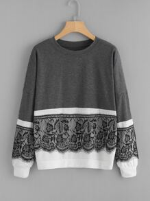 Contrast Eyelash Lace Two Tone Pullover