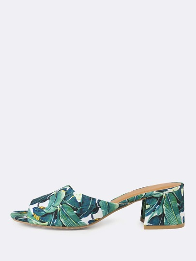 Tropical Print Peep Toe Mule Heel GREEN