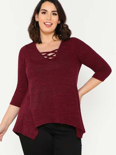 Strappy Neck Hanky Hem T-shirt