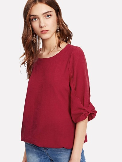 Solid Ruched Detail Blouse