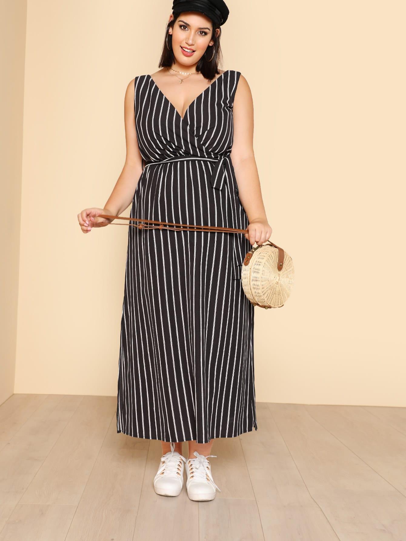 Self Belted Side Slit Pinstripe Dress self belted solid dress