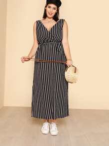 Self Belted Side Slit Pinstripe Dress