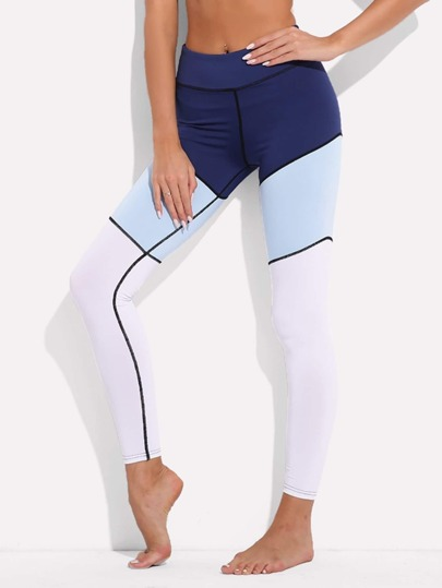 Leggins de rayas color block