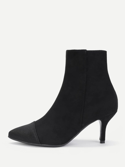 Pointed Toe Side Zipper Suede Boots