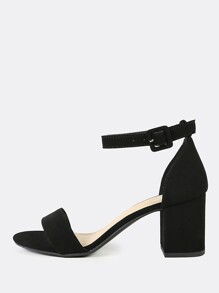 Single Band Ankle Strap Chunky Low Heels BLACK