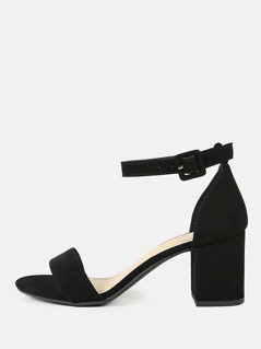 Nubuck Ankle Strap Block Heel Sandals