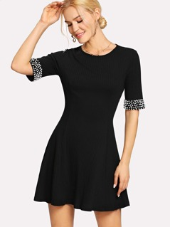 Pearl Beaded Cuff Rib Knit Dress