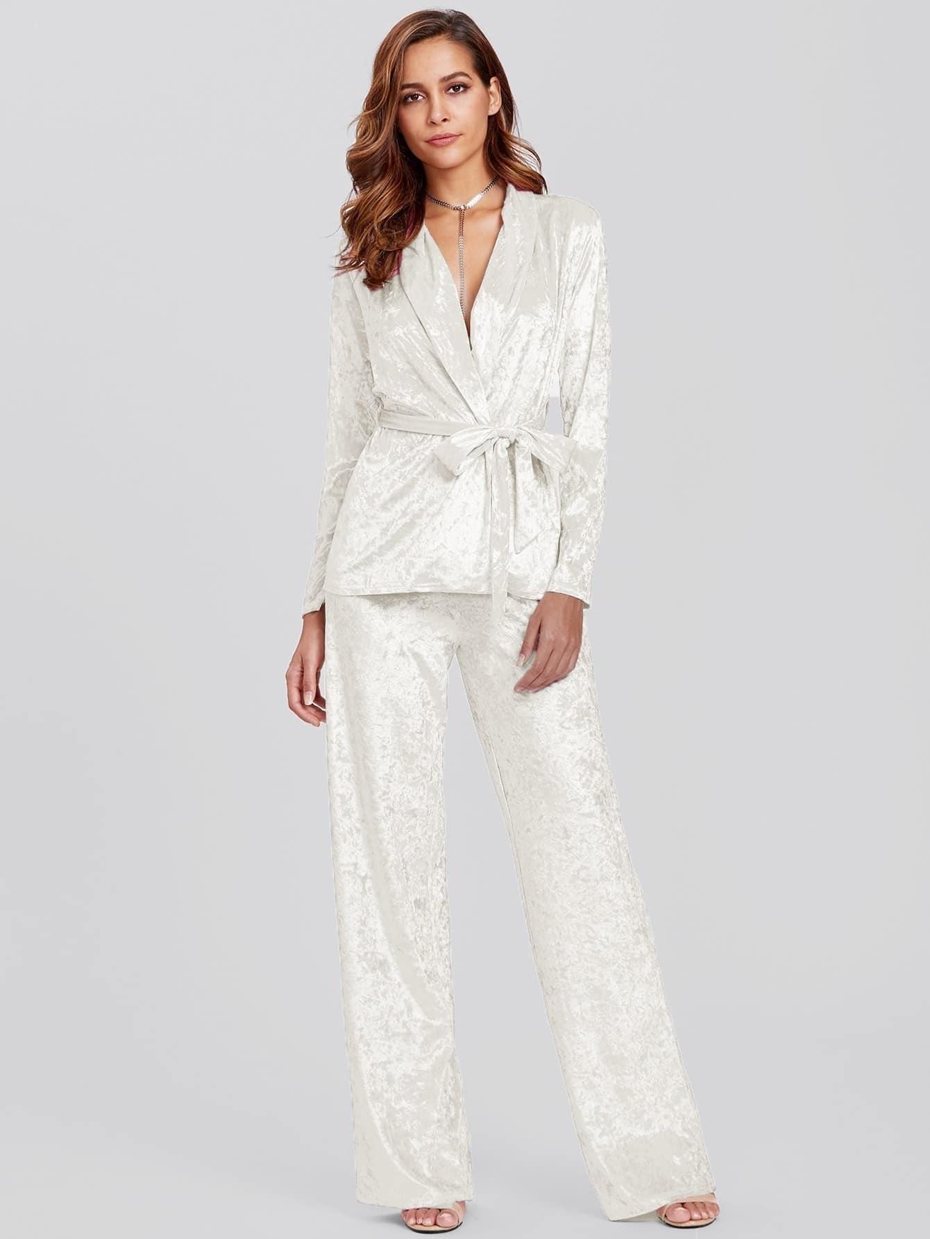 Crushed Velvet Wrap Top & Pants Pajama Set crushed velvet top and shorts set