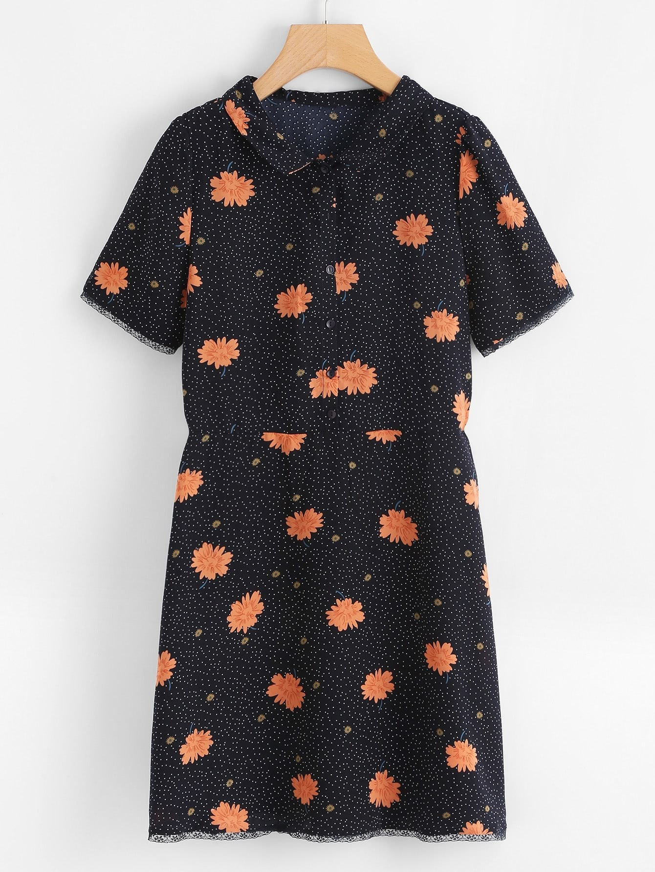 Half Placket Floral & Dot Shirt Dress half placket striped smock shirt dress