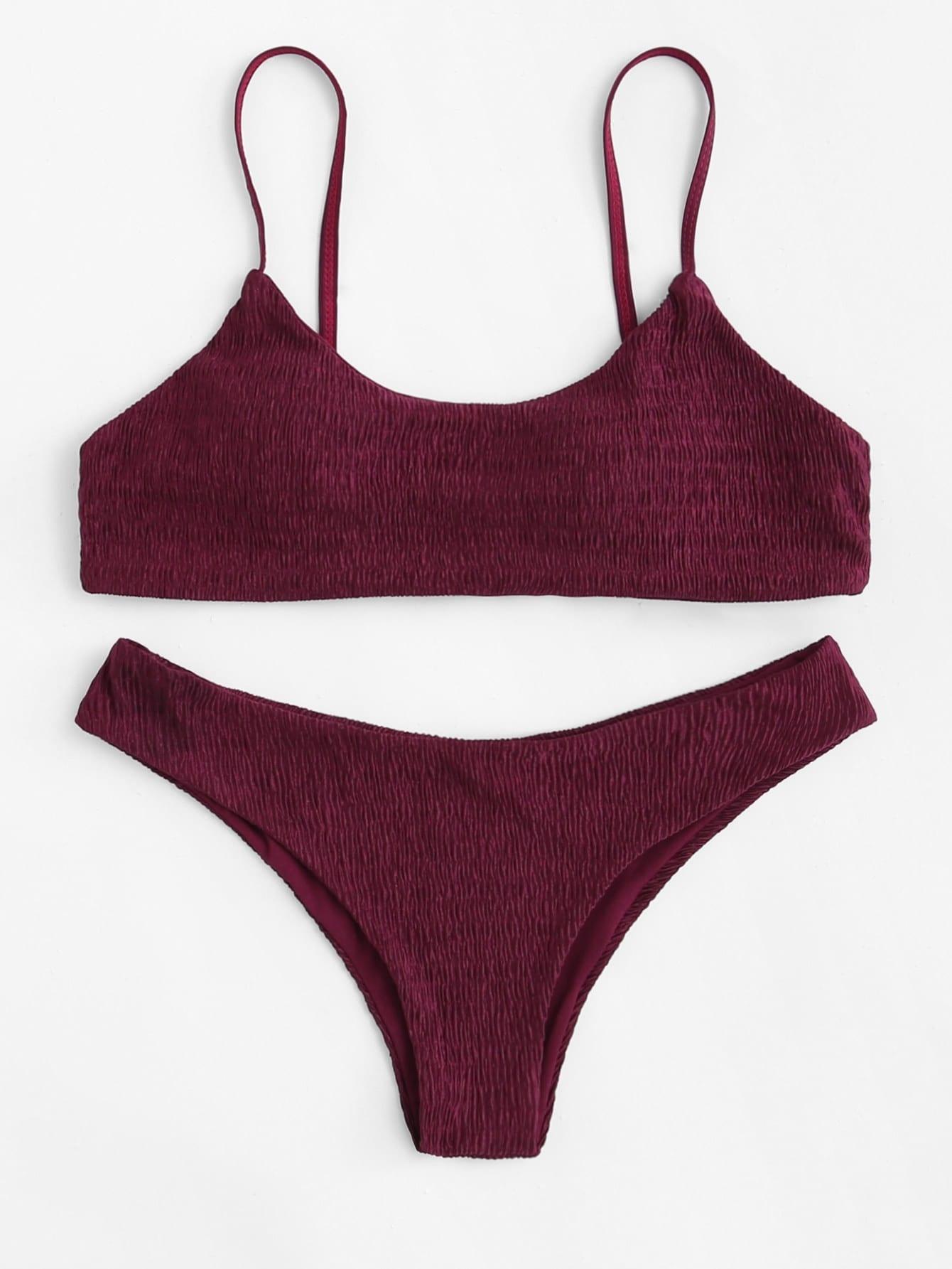 Фото Shirred Cami Bikini Set checker knot bikini set