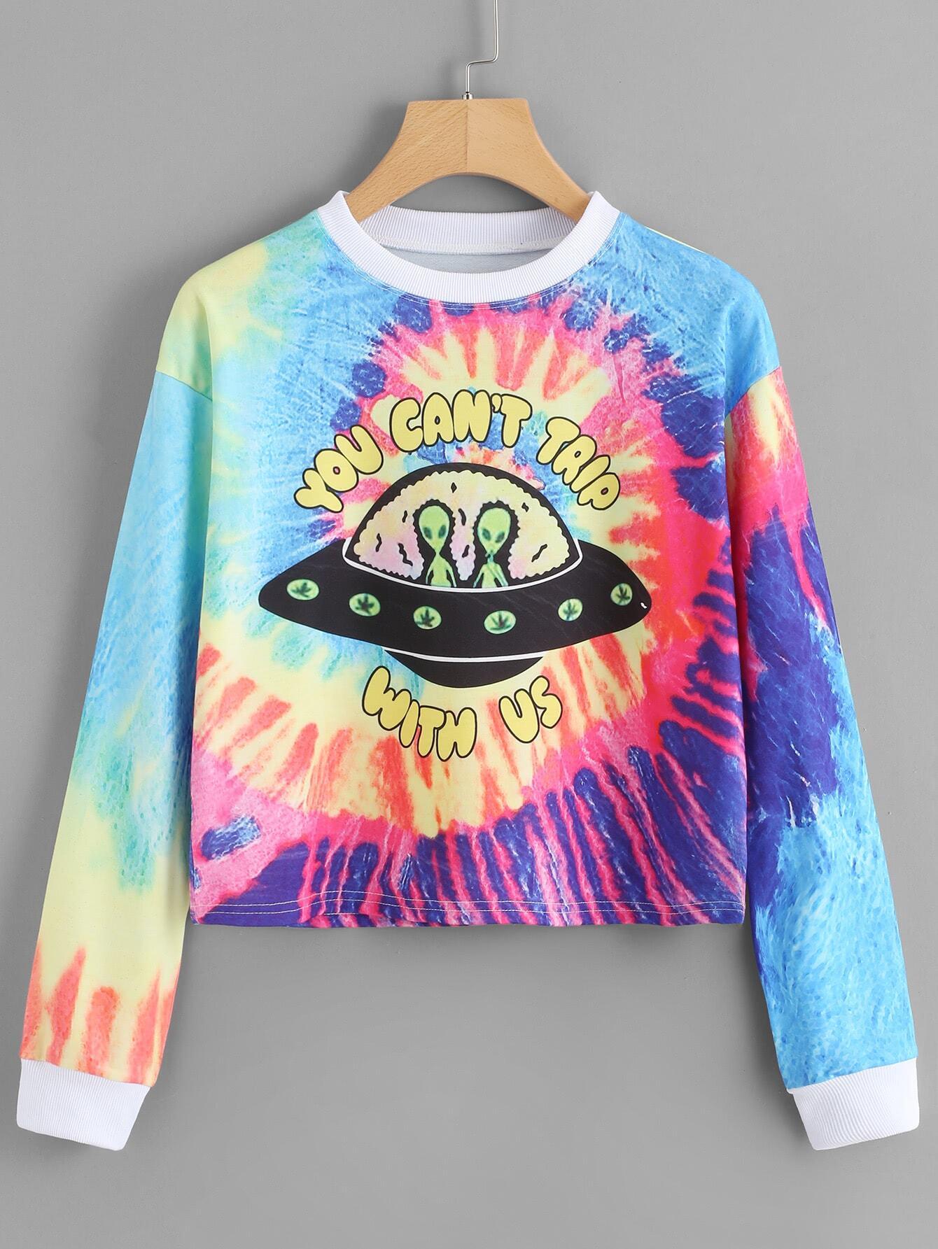 Alien Print Water Color Sweatshirt