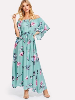 Flower Print Drawstring Waist Bardot Dress