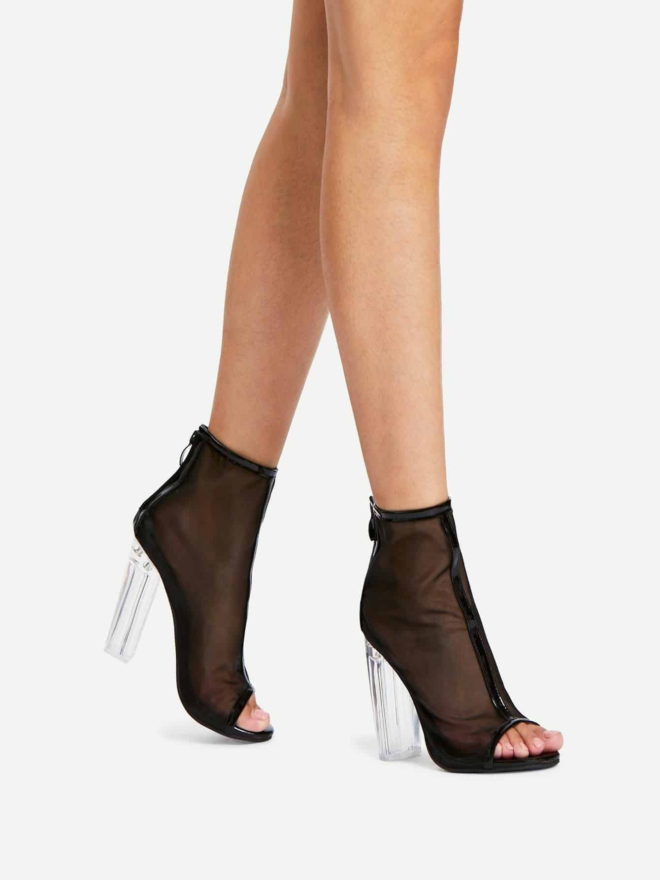 Фото Net Yarn Peep Toe Chunky Heels closed toe v cut chunky heels mauve
